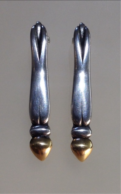Christine Savage. Dragonfly earrings, silver and gold.