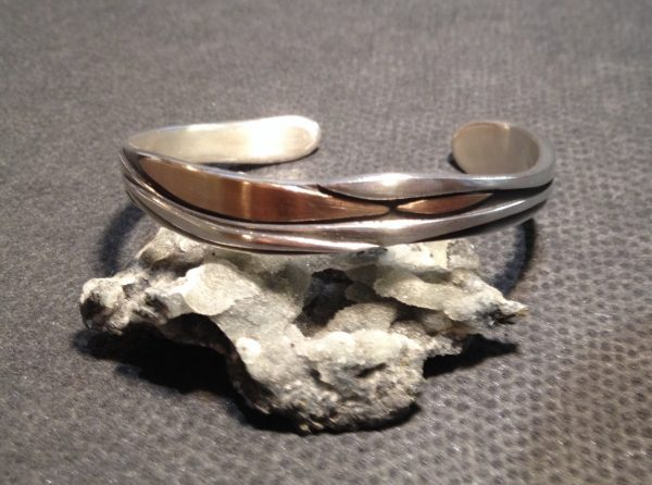 Christine Savage. Sterling silver and rose gold cuff .